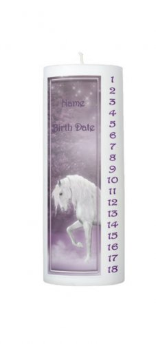COUNTDOWN Birthday Purple Unicorn 8 inch Pillar Candle - SCENTED