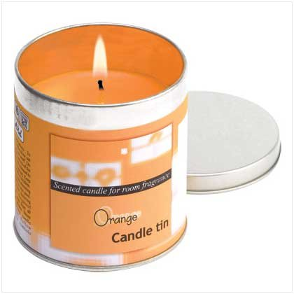 38307 Orange Votive Candle In Tin