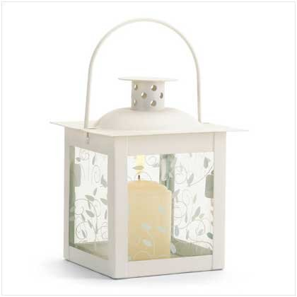37440 Small Ivory Color Glass Lantern