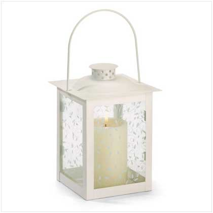 37441 Large Ivory Color Glass Lantern