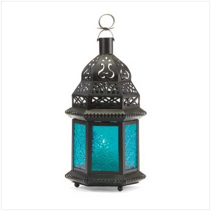 37438 Blue Glass Moroccan-Style Lantern