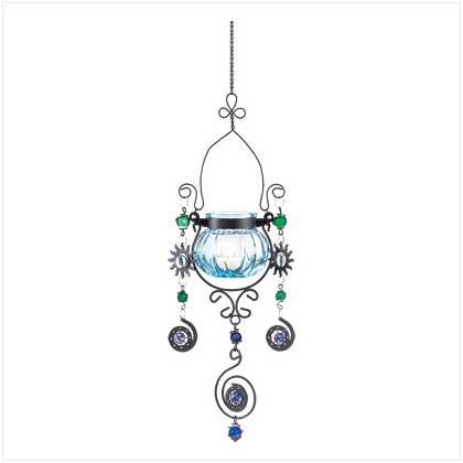 38954 Blue Jeweled Candleholder