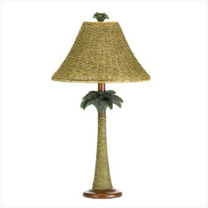 37989 Rattan Styled Palm Tree Lamp