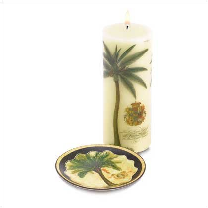 38536 Palm Tree Candle and Holder