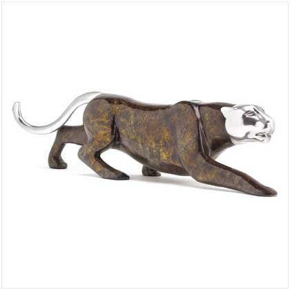 38428 Faux Marble Panther Statue