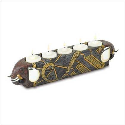 38440 Tribal Elephant Tealight Holder