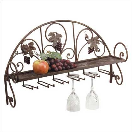 34277 Metal and Grapes Wall Shelf/Wine Glass Holder