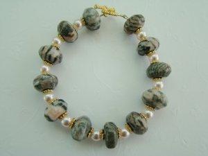 Pink and gray jasper stone bracelet