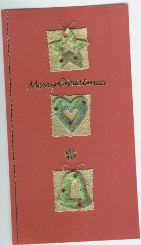 Long card with star, heart and bell