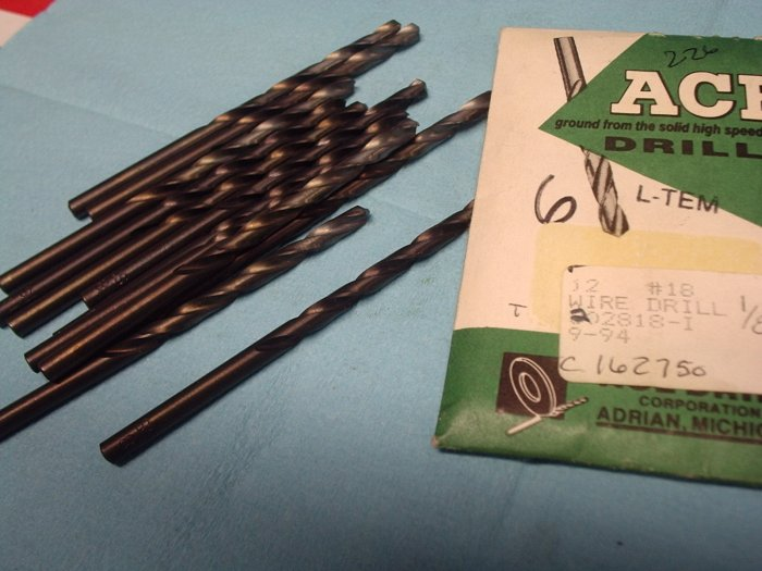 New Old Stock ACE  #18 Wire Drills Pack of 12 FREE SHIPPING 226d