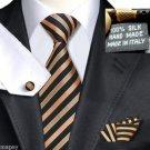 Black Gold Green Stripe Tie 100% Silk Handkerchief Cufflinks