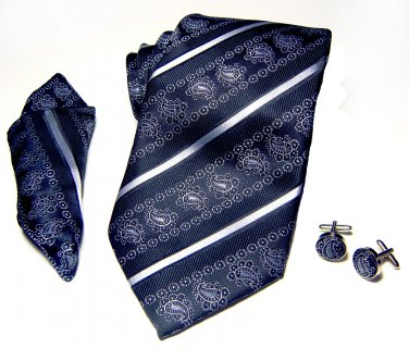 Black & Silver Paisley Tie Set 100% Silk Handkerchief Cufflinks