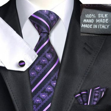 Black & Purple Paisley Tie Set 100% Silk Handkerchief Cufflinks