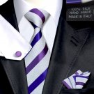 Purple Satin & White Jacquard Stripe Tie 100% Silk Handkerchief Cufflinks