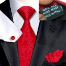 Red Tie Set with Mum jacquard pattern 100% Silk Handkerchief Cufflinks Armani