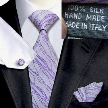 Lavender with Purple Tie Set 100% Silk Handkerchief Cufflinks Armani