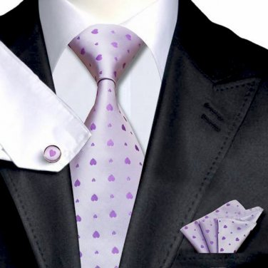 Lavender with Violet Hearts Tie Set 100% Silk Handkerchief Cufflinks Armani