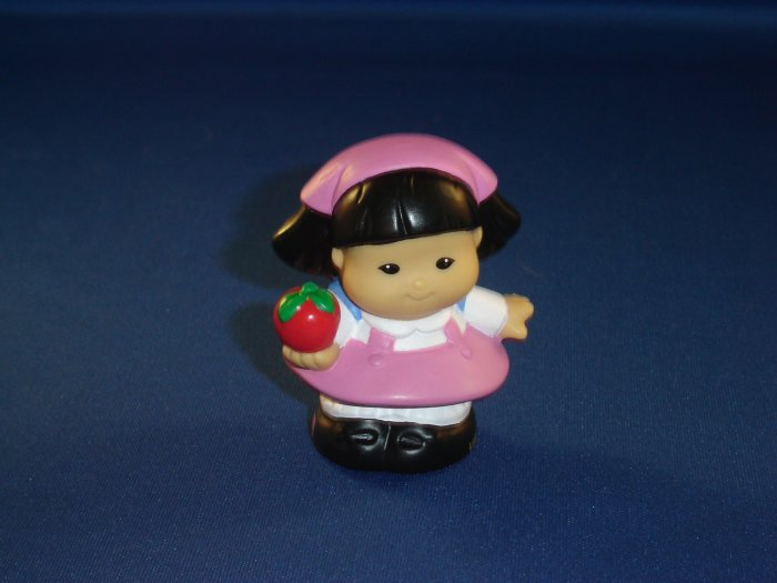 Fisher Price Little People Girl Sonya First Day of School W/ Pink Dress Blue Back Pack & Apple
