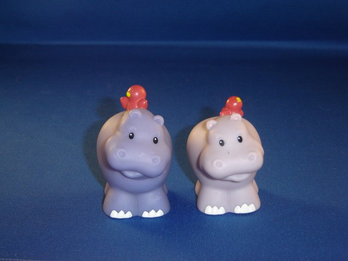 Fisher Price Little People Pair of Male Female Hippos For Noahs Ark Set Newer FP LP