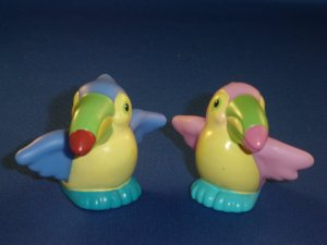 Fisher Price Little People Pair of Male Female Parrot Tucan Birds For Noahs Ark Set Newer FP LP