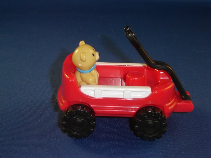 2003 Fisher Price Little People Red Wagon With Teddy Bear Newer FP LP