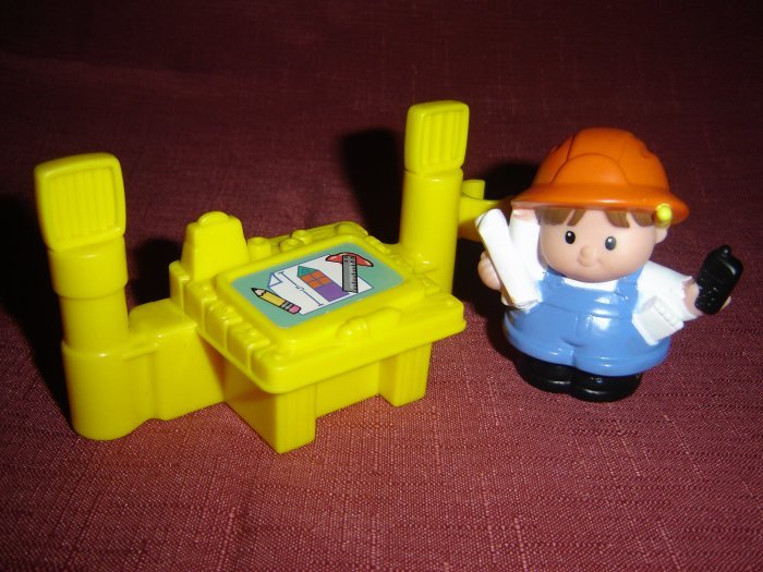 2002 Fisher Price Little People Architect Drafting Table For Construction Set Newer FP LP