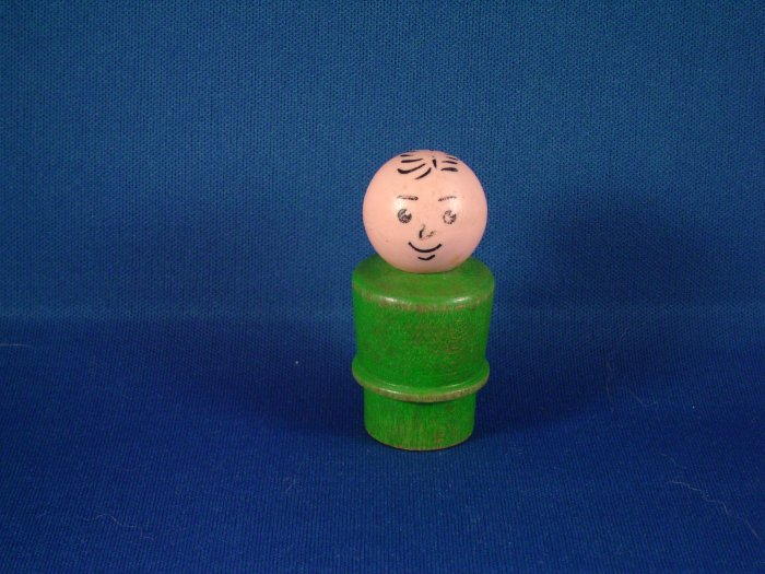 Vintage Fisher Price Little People Green Wood Dad FP LP
