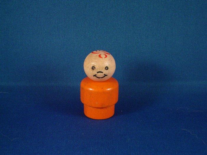 Vintage Fisher Price Little People All Wood Orange Boy FP LP