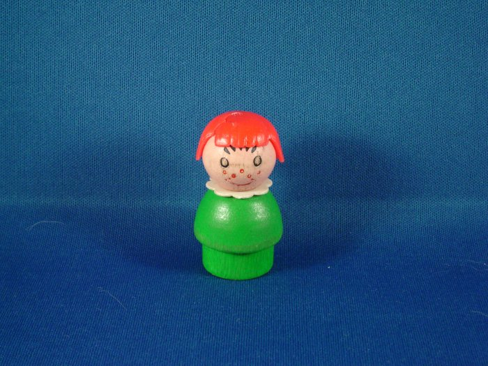 Vintage Fisher Price Little All Wood Girl W/ Green Body Orange Hair & Freckles FP LP
