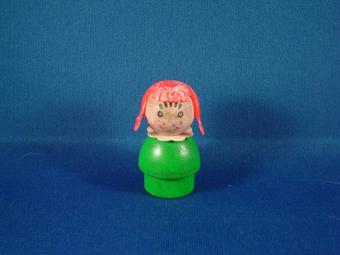 Vintage Fisher Price Little People All Wood Green Girl W/ Orange Hair  Braids & Freckles FP LP