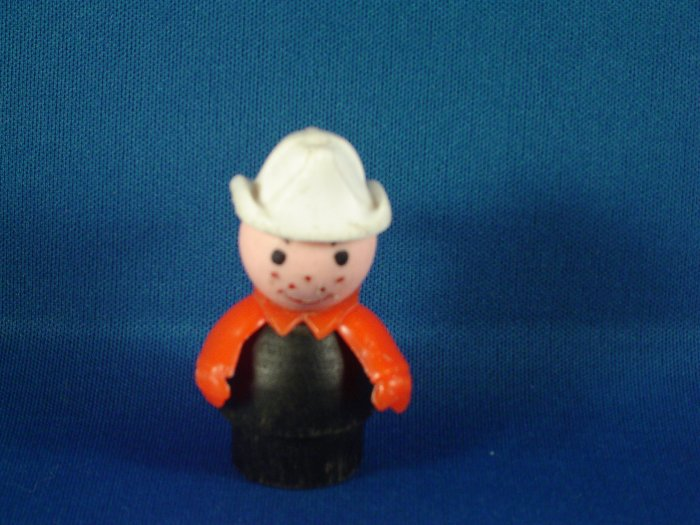 Vintage Fisher Price Little People Wood Black Body Firefighter White Hat FP LP