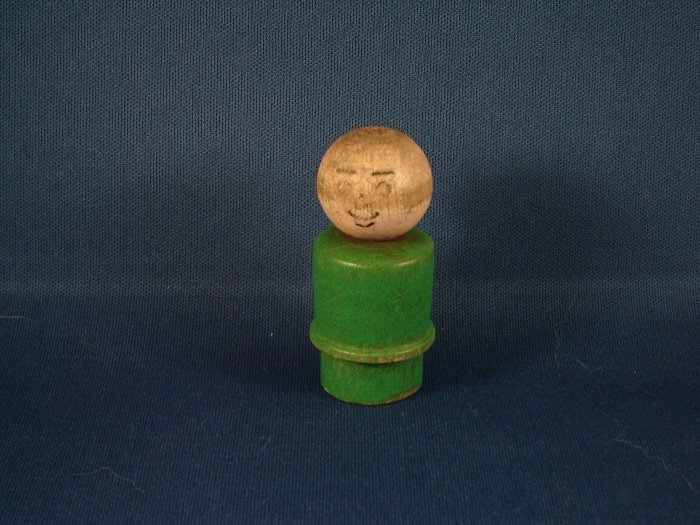 Vintage Fisher Price Little People All Wood Green Dad FP LP