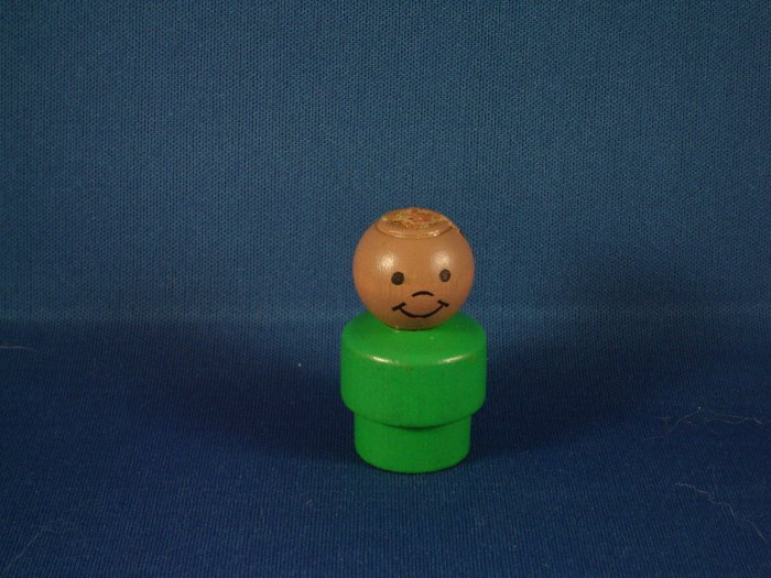 Vintage Fisher Price AA African American Wood Little People Boy W/ Green Body Missing Cowboy Hat