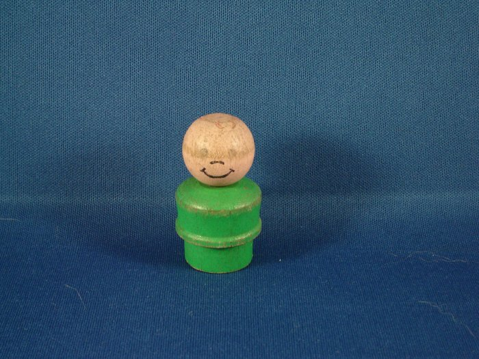 Vintage Fisher Price Little People All Wood Green Boy FP LP
