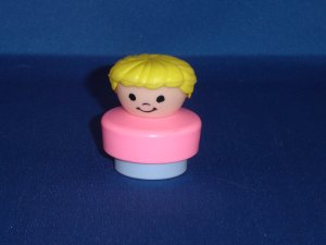 Vintage 1990 Chunky Fisher Price Little People Blond Mom Pink and Purple Body
