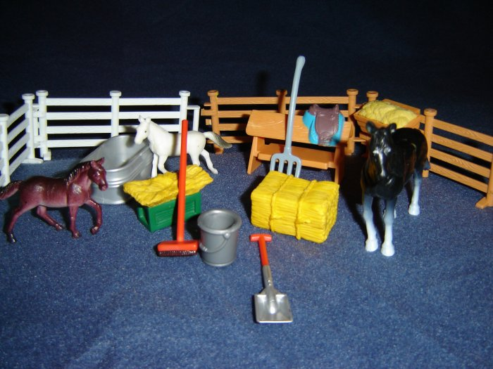 16 Pc Barn Stable Accessories and Horses Including Breyer Keenway Hay Manger Saddle Stand Trough