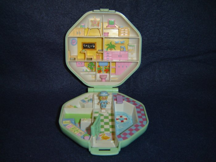 Vintage 1990 Polly Pocket Pollys School from Bluebird Toys and Mattel With Light Green Compact