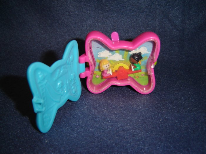 Vintage 1994 Blue Pink And Yellow Polly Pocket Bow Wrist Watch By Bluebird Toys