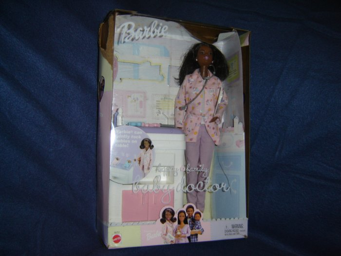 2002 Barbie Happy Family AA Baby Doctor In Box With Bottles Stethoscope Exam Table and Accessories