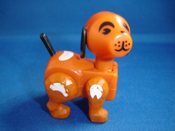 Vintage Fisher Price Little People Jointed Brown Farm Dog With White Spots Black Ears and Tail