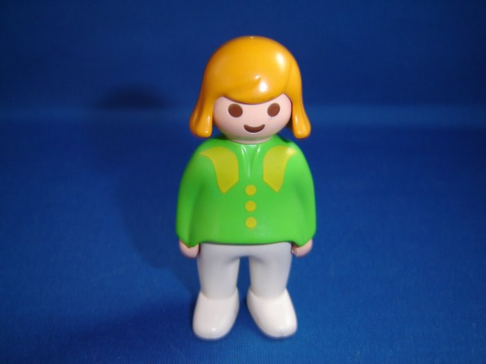 Vintage 1990 Playmobil Blond Woman Mother Figure with Green and Yellow Shirt White Pants