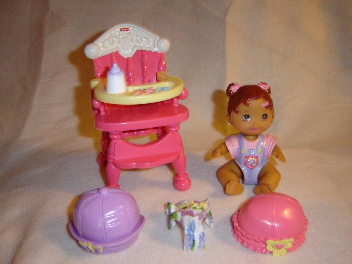 Snap n Style Babies Dinnertime For Dahlia Highchair 3 Snap On Outfits 2 Hats and Baby Dahlia