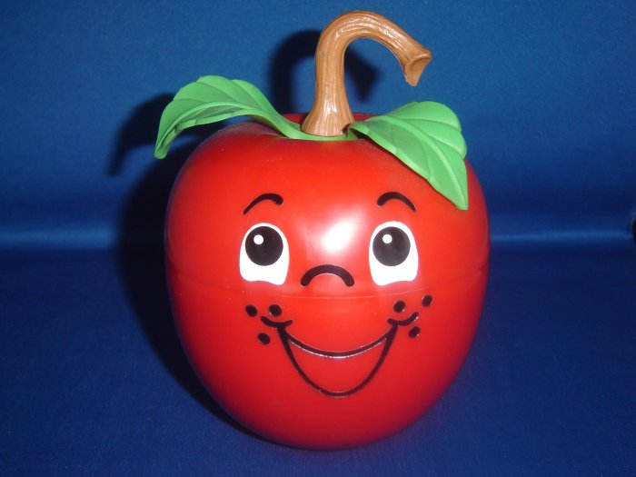 Vintage 1972 Fisher Price Happy Apple Roly Poly Musical Chime Toy With Long Stem Excellent