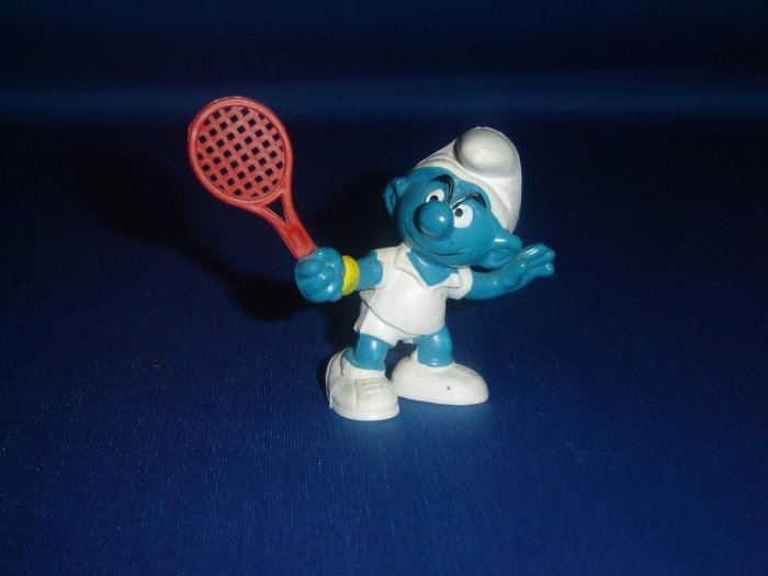 Vintage 1979 Tennis Player Smurf 20049 With Red Tennis Racket By Schleich PVC