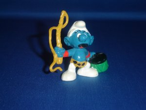 Vintage 1979 Lion Tamer Smurf With A Green Drum and Whip 20115 By Schleich PVC