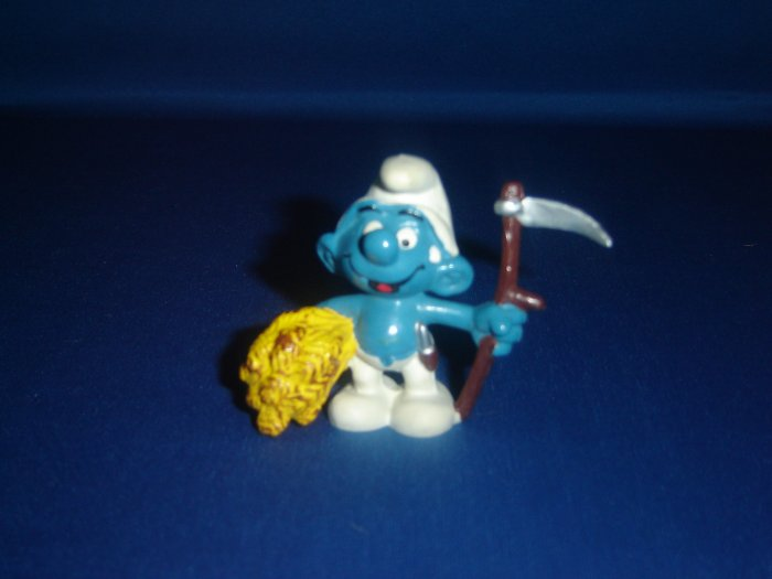 Vintage 1981 Farmer Smurf With Wheat Harvest and Sickle 20145 By Schleich W Berrie Co PVC