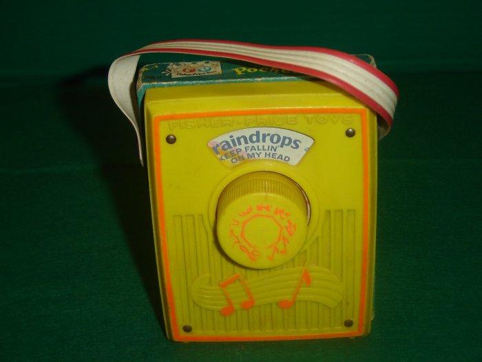 Vintage 1972 Fisher Price Raindrops Yellow Pocket Radio Model 762 Working Condition
