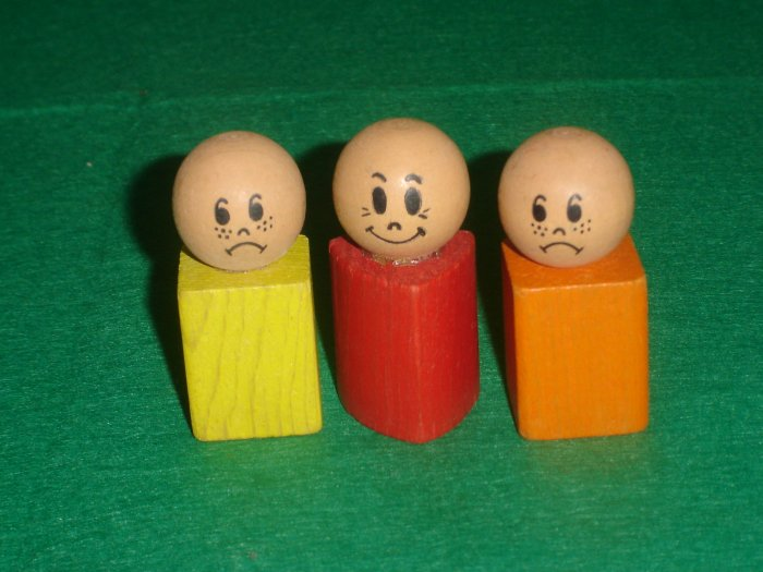3 Vintage Wooden Playskool Shape Sorter People From The Old Ladys Shoe Pull Toy