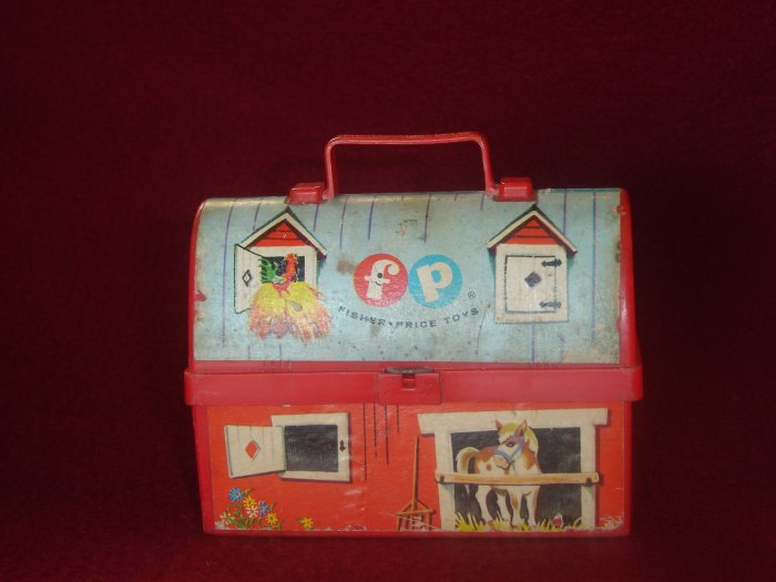 Vintage 1962 Fisher Price Toy Lunch Kit Red Lunch Box Model 549 Designed To Look Like A Barn