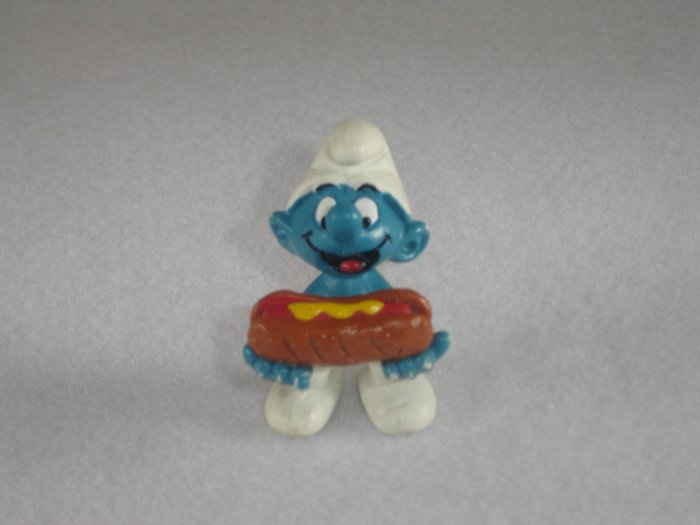 Vintage 1983 Hot Dog Smurf 20169 By Schleich W Berrie Co PVC